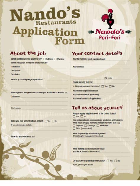 nandos job application form  job application form