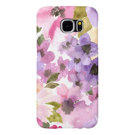 Pink Watercolor Flower Casing Iphone Oppo Samsung Custom watercolor flowers purple pink samsung galaxy s6 zazzle