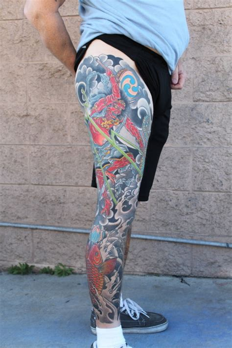 raijin leg sleeve tattoo