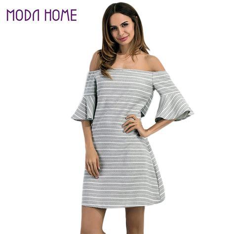 striped shoulder a line dress flare sleeve mini dress striped shoulder a