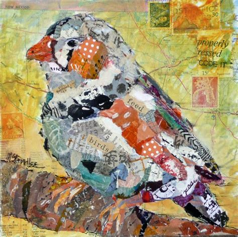 How To Make A Paper Collage - nancy standlee rooster and bird torn paper