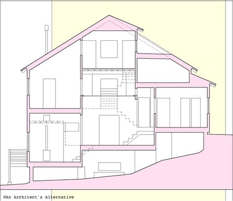 House Section Drawing by Modern House Plans By Gregory La Vardera Architect A