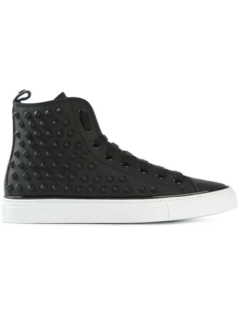 studded high top sneakers dsquared 178 studded high top sneakers in black for lyst