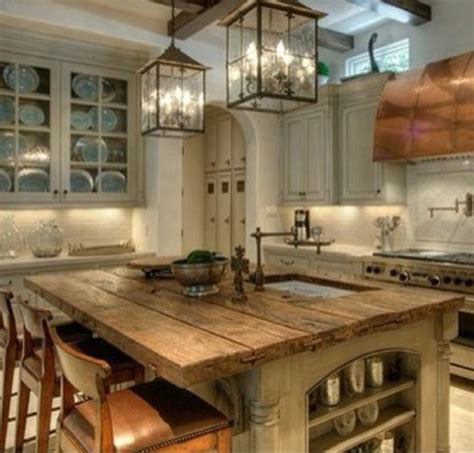 the rustic kitchen island would change the wall colors to turquoise and black with