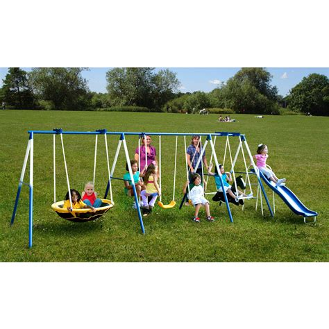 swing set swings sportspower super 8 fun metal swing set