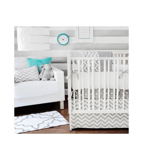 new arrivals zig zag grey 4 baby crib bedding set