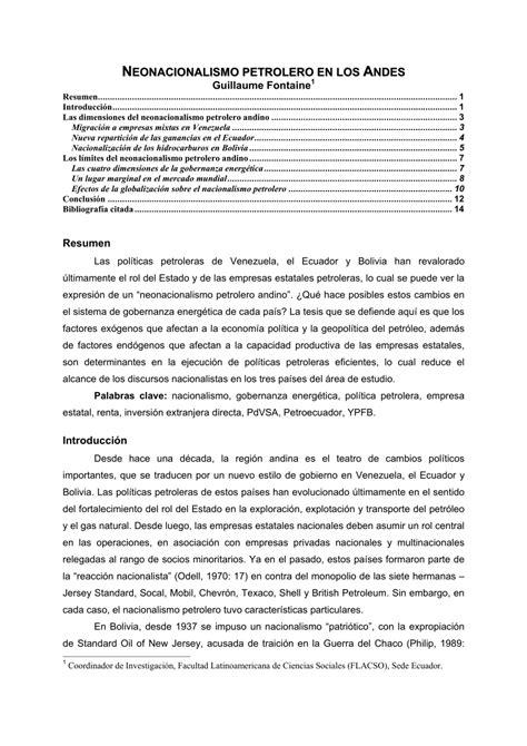 (PDF) Neonacionalismo petrolero en los Andes