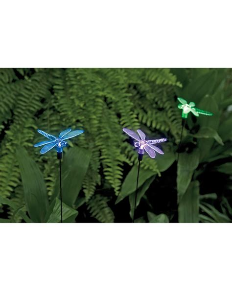 Dragonfly Solar Lights Garden Stakes Set Of 3 Gardeners Com Solar Dragonfly Lights
