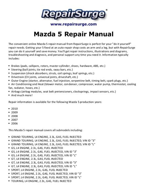 online service manuals 2009 mazda mazda3 user handbook mazda 5 repair manual 2006 2010