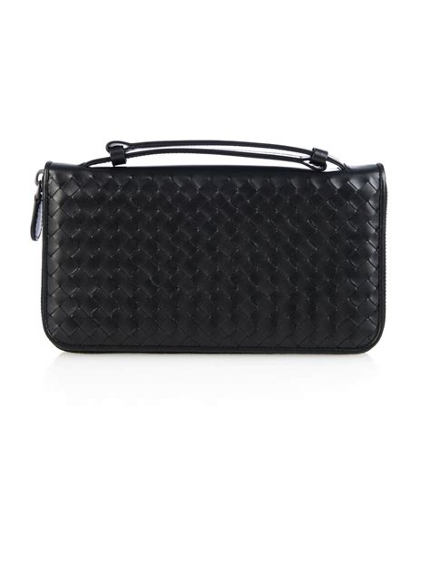 Wallet Bottega Black Ml099 bottega veneta intrecciato leather travel wallet in black for lyst