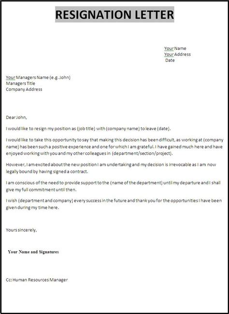 Resignation letter template free word s templates