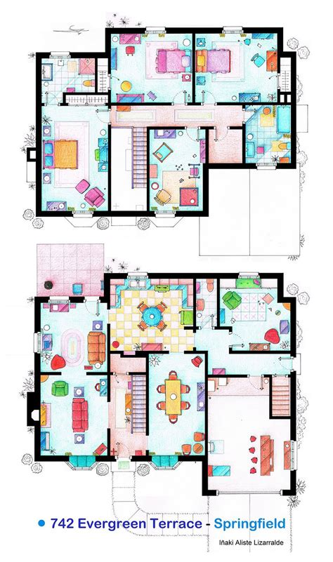 the simpsons house floor plan artist draws detailed floor plans of famous tv shows