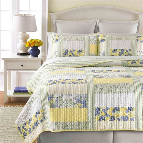 Martha Stewart Bedding Quilts by Martha Stewart Collection Blue And Yellow Patchwork Posey Quilt Bedding Home Appliances