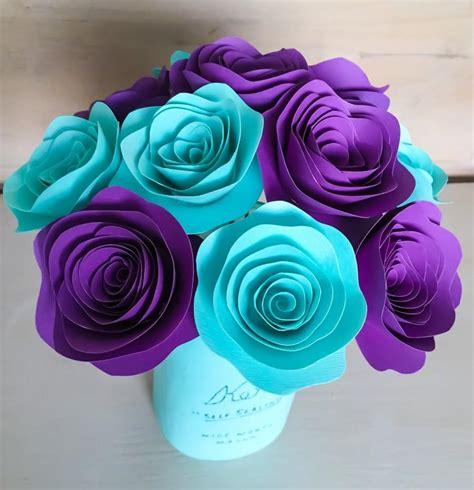 aqua colored home decor paper flowers stemmed purple aqua aquamarine