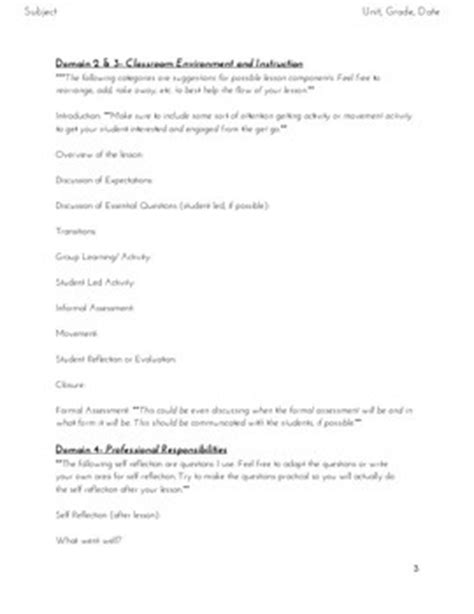 charlotte danielson style lesson plan template by the
