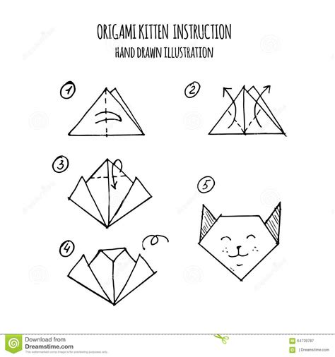 3d Origami Step By Step Illustrations - illustration step by step of kitten origami