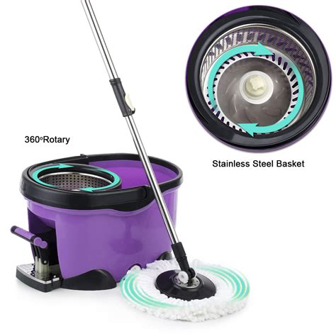 stainless steel mop telescopic stainless steel rolling magic spin mop bucket
