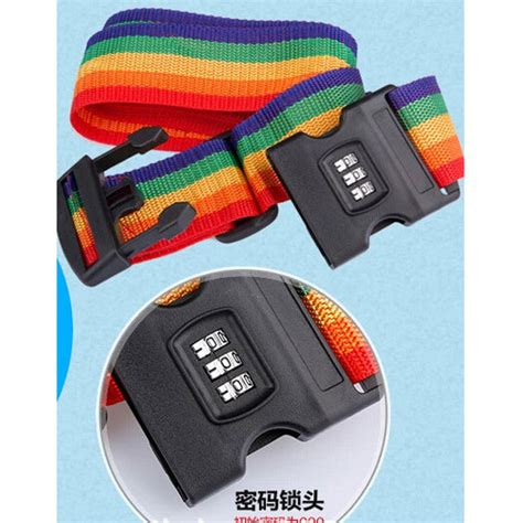 Travel Rainbow Luggage Coded Lock Suitcase Belt Tali Koper Password travel rainbow luggage coded lock suitcase belt stripe tali koper password multi color