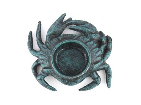 Cast Iron Decor by Wholesale Seaworn Blue Cast Iron Crab Tealight Holder 4 5
