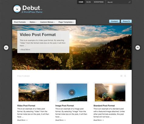 wp template debut theme themes for blogs at