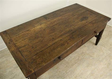 Antique Oak Coffee Table Antique Two Drawer Oak Coffee Table With Stretchers At 1stdibs