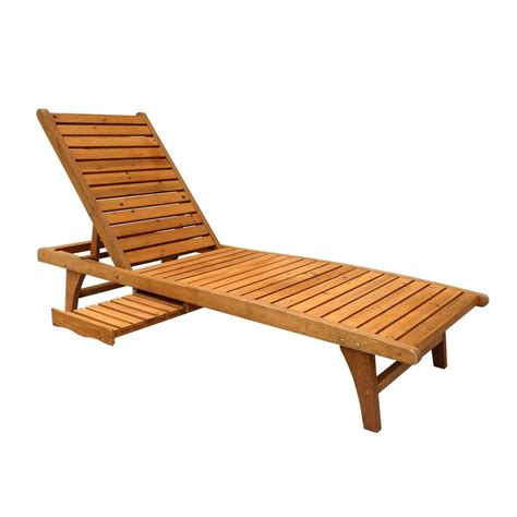 Leisure Season Patio Lounge Chaise with Pull Out Tray