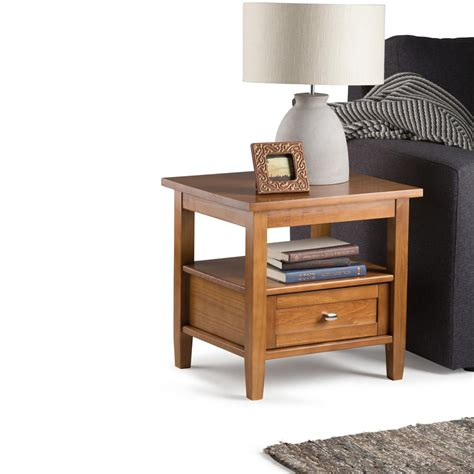 Simpli Home Warm Shaker Honey Brown Storage End Table