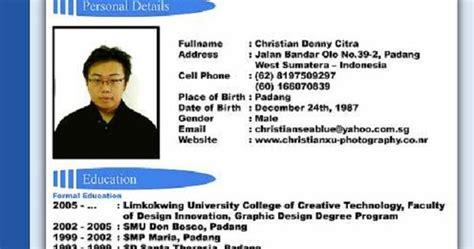 contoh cv resume daftar riwayat hidup application