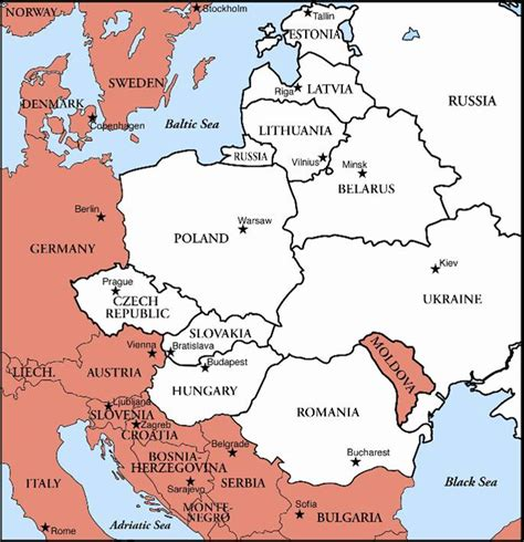 eastern europe map with cities map of eastern europe countries and cities