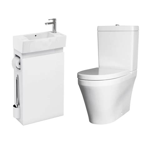 allinone white vanity unit with wc brush amp toilet paper
