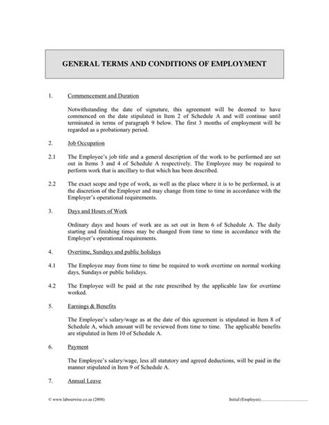 general terms and conditions of employment in word and pdf