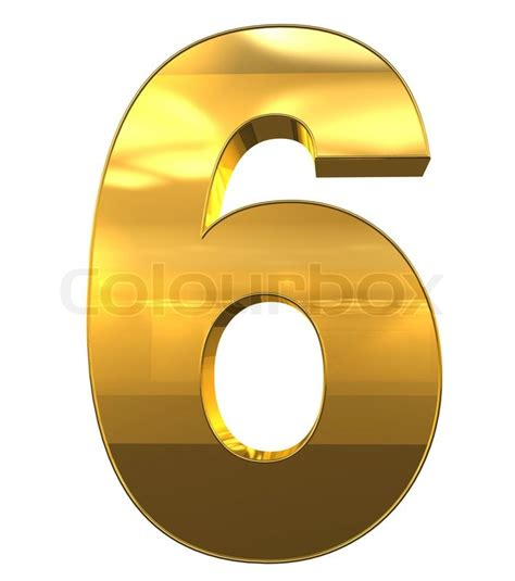 number 6 from gold with gold frame alphabet set isolated