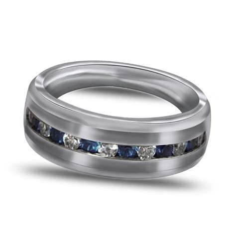 8mm sterling silver wedding band mens ring blue white