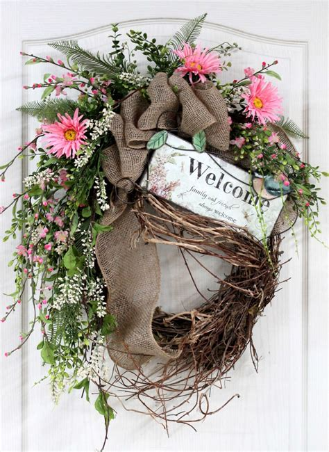 Country Wreaths For Front Door Country Welcome Wreath Front Door Wreath Wreath Wildflowers