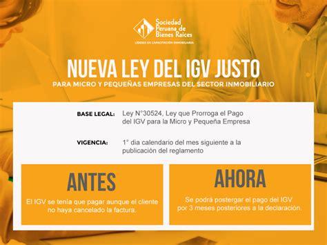 ley del isan 2016 ley del igv justo sociedad peruana de bienes raices
