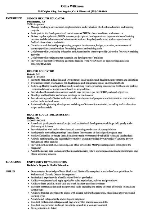 health educator resume sle health educator resume sles velvet