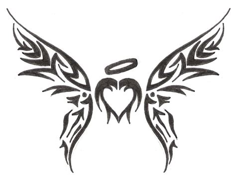 tribal heart with wings tattoo simson