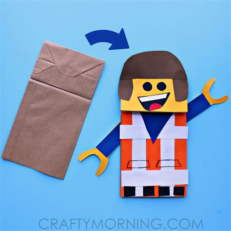 Crafts Using Paper Bags - paper bag lego puppet craft for crafty morning