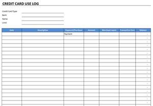 Credit Card Usage Template Credit Card Use Log Template Free Excel Templates And Spreadsheets