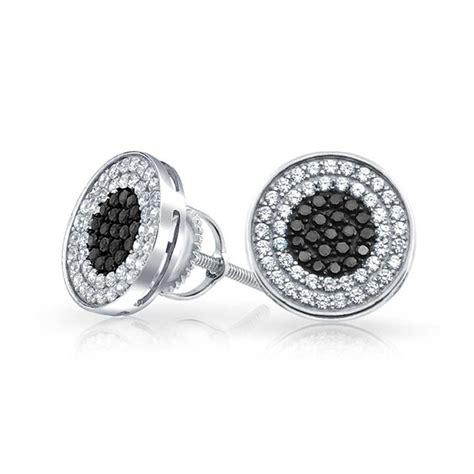 Cz Stud Earrings 925 sterling silver black cz bullseye stud earrings back