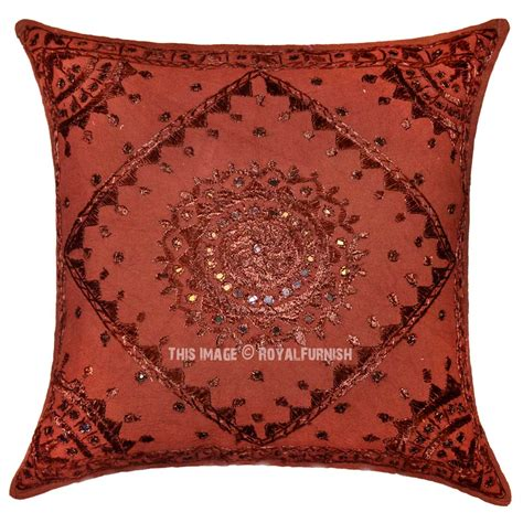 Decorative Pillows 24x24 by 24 Quot X 24 Quot Brown Decorative Mirror Embroidered Cotton