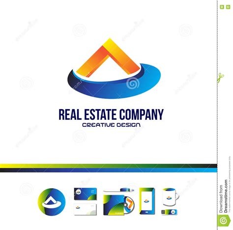 house beautiful logo orange blue real estate house logo stock vector image