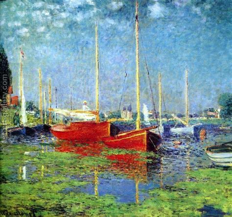 monet boats at argenteuil the red boats argenteuil painting by claude oscar monet