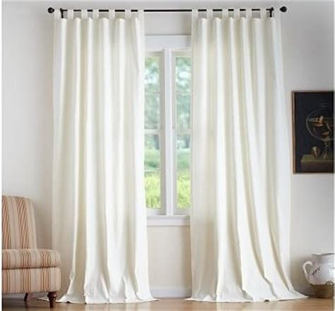 white cotton tab top curtains textured cotton tab top 50 x 96 quot white traditional curtains by pottery barn