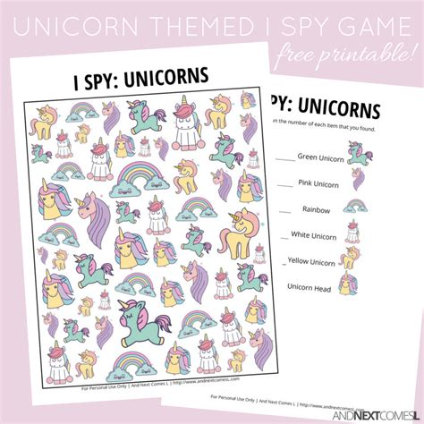 printable unicorn bingo unicorn i spy game free printable for kids and next
