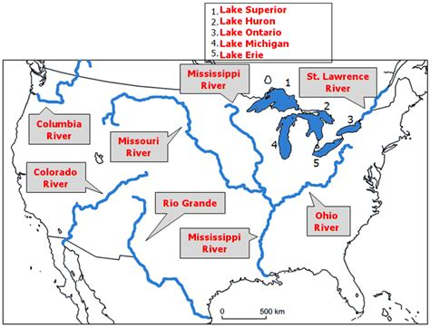 america map quiz with bodies of water map of bodies of water in america images