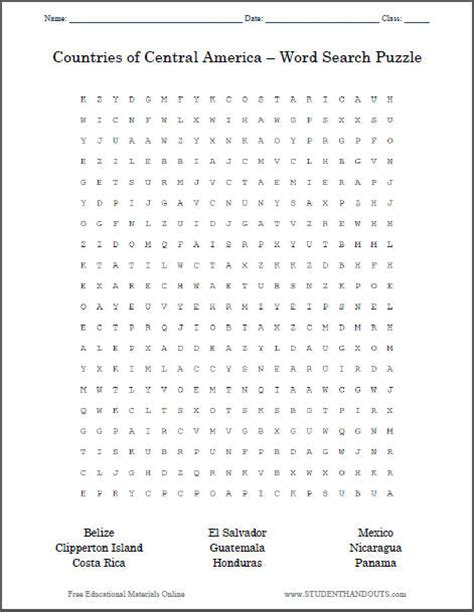 America Search Countries Of Central America Word Search Student Handouts