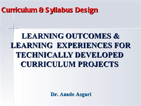 art design experiences outcomes learning outcomes learning experiences for technically