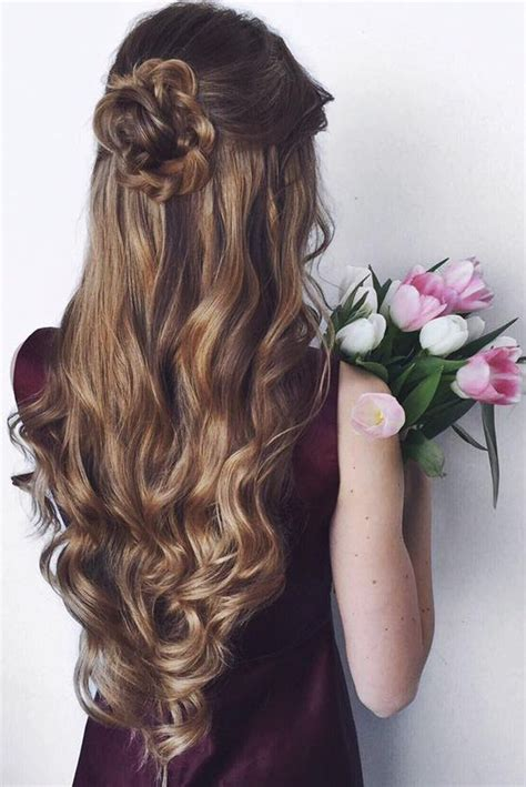 wedding hairstyles half up half down with flowers long half up half down wedding hairstyle deer pearl