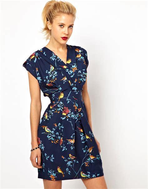 Closet Tulip Dress by Closet Closet Wrap Front Tulip Dress In Bird